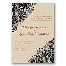 Diamond Lace Roses Glitter - Black - Invitation