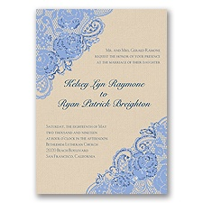 Diamond Lace Roses Glitter - Bluebird - Invitation