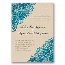 Diamond Lace Roses Glitter - Oasis - Invitation