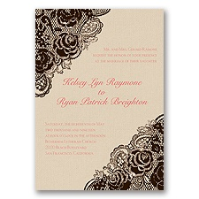 Diamond Lace Roses Glitter - Chocolate - Invitation