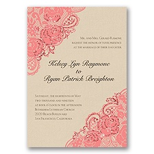Diamond Lace Roses Glitter - Coral Reef - Invitation
