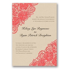 Diamond Lace Roses Glitter - Guava - Invitation