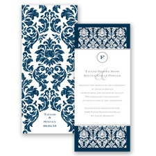 Damask Dazzle Glitter - Peacock - Invitation