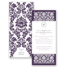 Damask Dazzle Glitter - Plum - Invitation