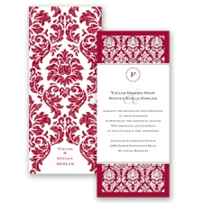 Damask Dazzle Glitter - Apple - Invitation