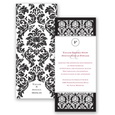 Damask Dazzle Glitter - Black - Invitation
