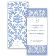 Damask Dazzle Glitter - Bluebird - Invitation