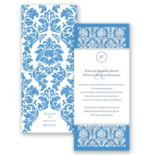 Damask Dazzle Glitter - Cornflower - Invitation