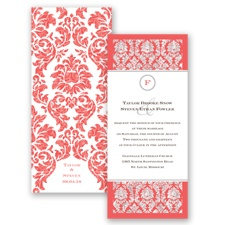 Damask Dazzle Glitter - Guava - Invitation