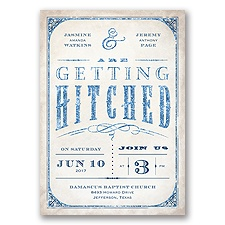 Getting Hitched With Style Glitter - Marine - Invitation