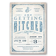 Getting Hitched With Style Glitter - Peacock - Invitation