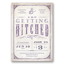Getting Hitched With Style Glitter - Plum - Invitation