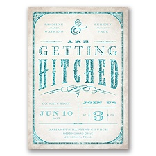 Getting Hitched With Style Glitter - Pool - Invitation