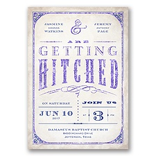 Getting Hitched With Style Glitter - Regency - Invitation