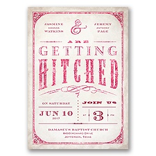 Getting Hitched With Style Glitter - Apple - Invitation