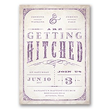 Getting Hitched With Style Glitter - Wisteria - Invitation