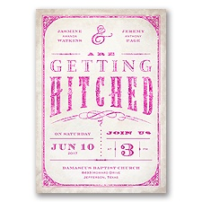 Getting Hitched With Style Glitter - Begonia - Invitation