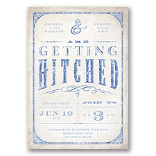 Getting Hitched With Style Glitter - Bluebird - Invitation