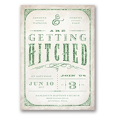 Getting Hitched With Style Glitter - Clover - Invitation