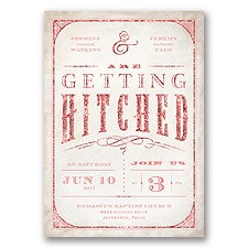 Getting Hitched With Style Glitter - Coral Reef - Invitation