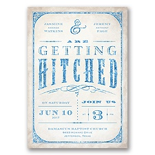 Getting Hitched With Style Glitter - Cornflower - Invitation