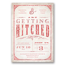 Getting Hitched With Style Glitter - Guava - Invitation