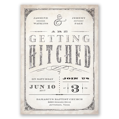 Getting Hitched With Style Glitter - Black - Invitation