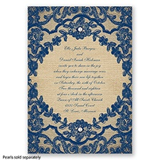 Honeymoon Lace - Marine - Invitation