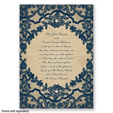 Honeymoon Lace - Peacock - Invitation