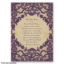 Honeymoon Lace - Plum - Invitation
