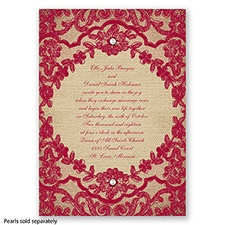 Honeymoon Lace - Apple - Invitation