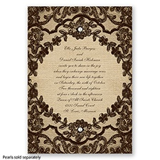 Honeymoon Lace - Chocolate - Invitation