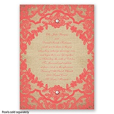 Honeymoon Lace - Guava - Invitation