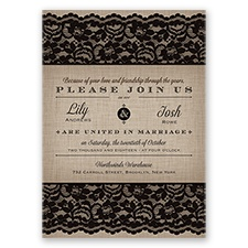 Rustic Lace - Black - Invitation