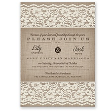 Rustic Lace - Ivory - Invitation
