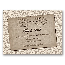 Rustic Lace - Ivory - Save the Date