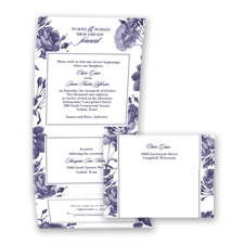 Antique Toile Roses - Lapis - Seal and Send Invitation