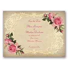 Inspiring Vintage Roses - Watermelon - Save the Date