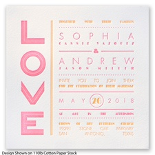 Typography Love Letterpress - Neon Pink - Invitation