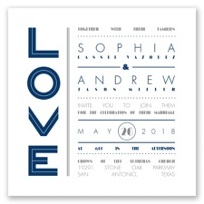 Typography Love Letterpress - Marine - Invitation
