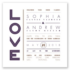Typography Love Letterpress - Plum - Invitation