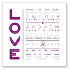 Typography Love Letterpress - Sangria - Invitation