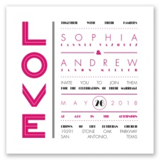 Typography Love Letterpress - Watermelon - Invitation