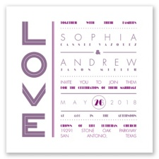 Typography Love Letterpress - Wisteria - Invitation