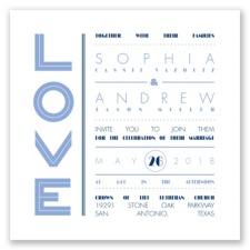 Typography Love Letterpress - Bluebird - Invitation