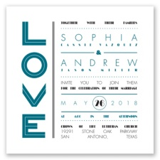 Typography Love Letterpress - Oasis - Invitation