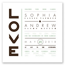 Typography Love Letterpress - Chocolate - Invitation