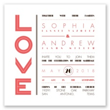 Typography Love Letterpress - Guava - Invitation
