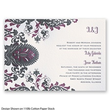Dynamic Damask Letterpress - Black - Invitation