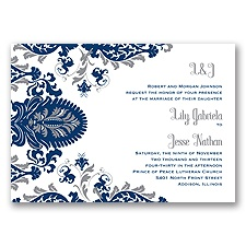 Dynamic Damask Letterpress - Marine - Invitation